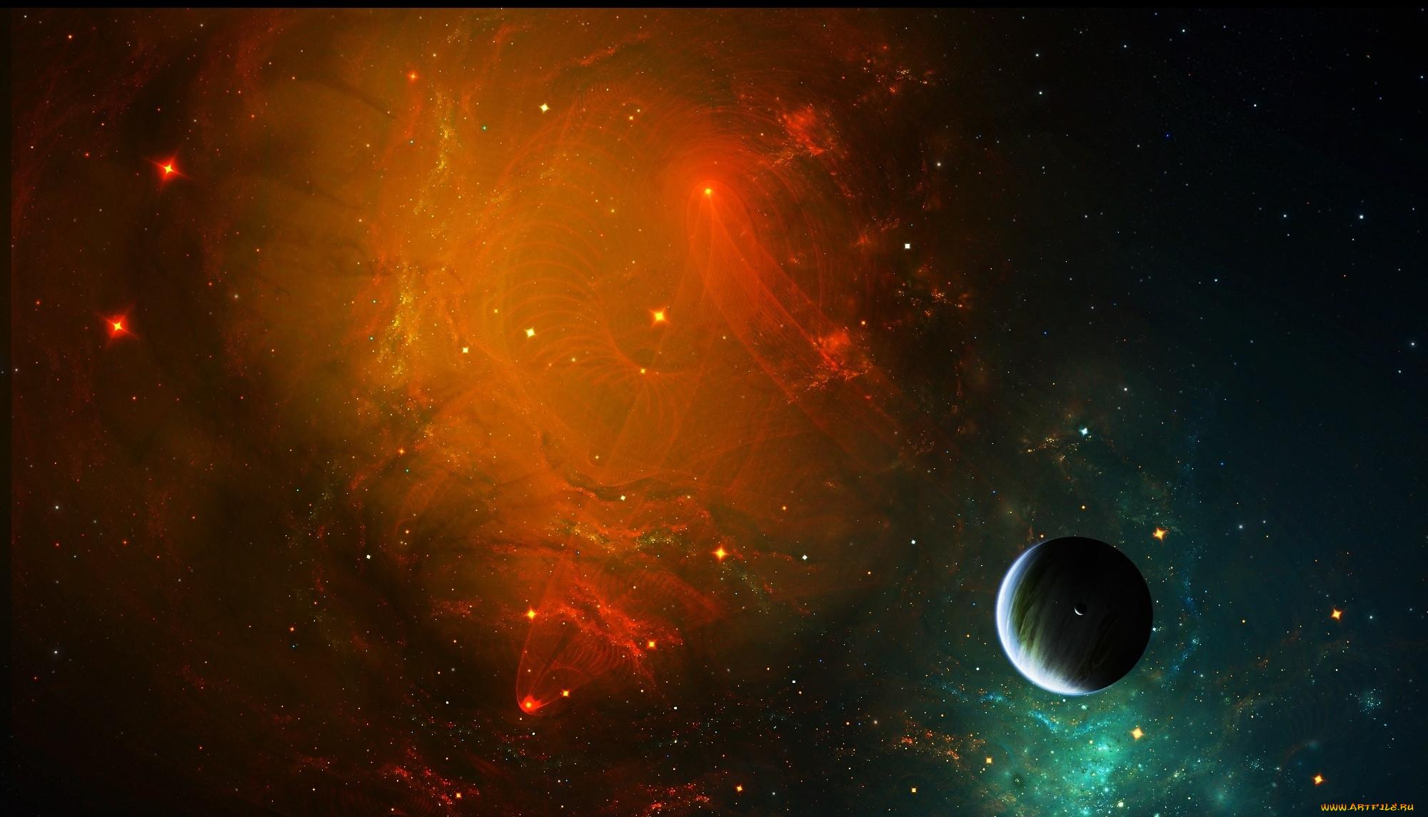 космос, арт, туманность, свет, звезды, планеты